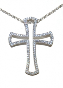 Diamondess SS, PP, CZ Pave Cross Necklace