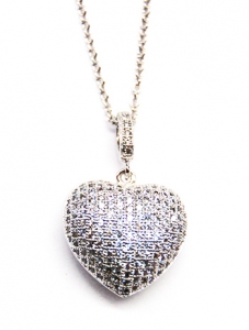 Diamondess SS, PP, CZ Pave Puffed Heart Necklace