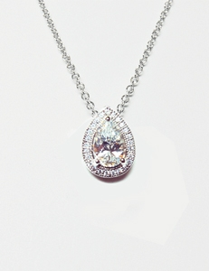 Diamondess Sterling Silver, Platinum Plate CZ Teardrop Necklace w/pave