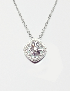 Diamondess Sterling Silver, Platinum Plate CZ Necklace w/pave surround