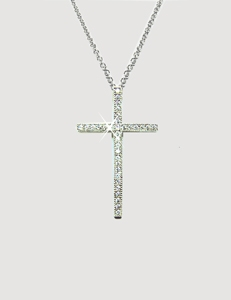 Diamondess Sterling Silver, Platinum Plate CZ Cross Necklace