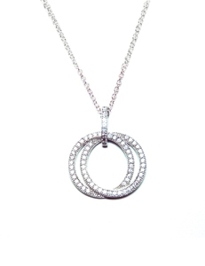 Diamondess Sterling Silver, Platinum Plate Pave CZ Necklace