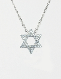 Diamondess Sterling Silver, Platinum Plate CZ Star of David Necklace