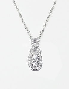 Diamondess Sterling Silver, Platinum Plate CZ Necklace w/pave