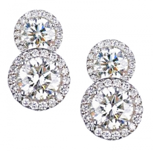 Diamondess SS PP, Layered CZ w/Pave Earrings