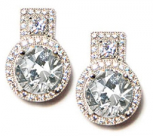 Diamondess SS PP, Geometric CZ Stud Earrings