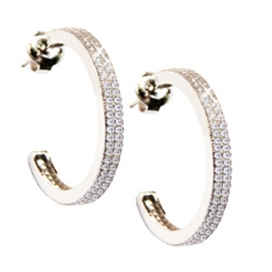 Diamondess SS PP, Small CZ Pave Hoop Earrings