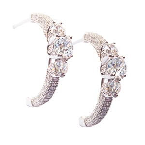 Diamondess SS PP, CZ & Pave Half Hoop Earrings