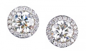 Diamondess SS PP, 1.5 ct tw Pave Surround CZ Studs