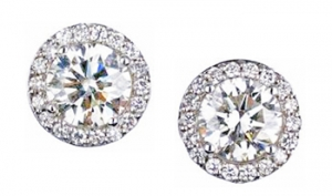 Diamondess SS PP, 3 ct tw Pave Surround CZ Studs