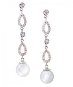 Diamondess SS PP, CZ Pave & Pearl Dangle Earrings