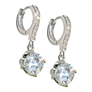 Diamondess SS PP Solitaire Drop CZ Earrings