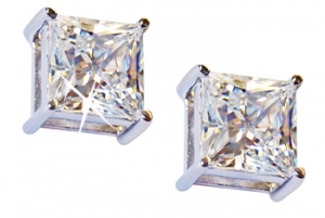 Diamondess SS PP, 4 ct tw CZ Studs, Princess Cut