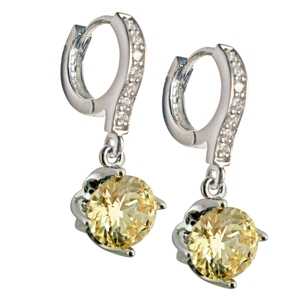 Diamondess SS PP, Solitaire Canary CZ Drop Earrings
