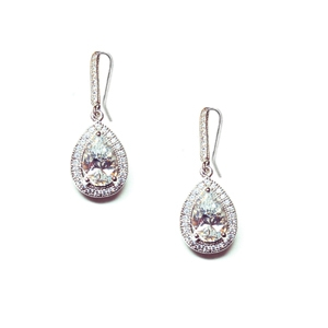 Diamondess Sterling Silver, Platinum Plate CZ Teardrop Hook Earrings w/pave