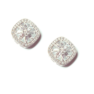 Diamondess Sterling Silver, Platinum Plate CZ Earrings w/pave surround