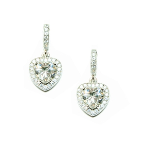 Diamondess Sterling Silver, Platinum Plate CZ Heart Earring w/pave surround