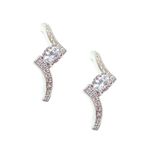 Diamondess Sterling Silver, Platinum Plate CZ Earrings w/pave