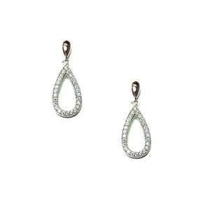 Diamondess Sterling Silver, Platinum Plate CZ Drop Earrings w/pave