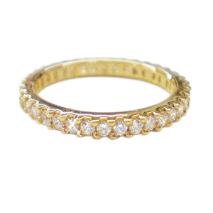 Diamondess SS, PP, Prong Set CZ Eternity Band, Goldtone