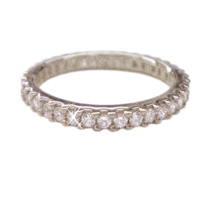 Diamondess SS, PP, Prong Set CZ Eternity Band, Silvertone