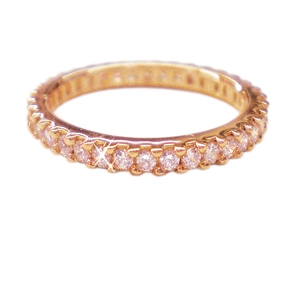 Diamondess SS, PP, Prong Set CZ Eternity Band, Rose Goldtone