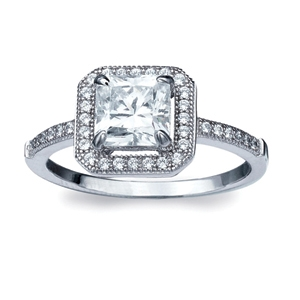Diamondess SS, PP, Square CZ Solitaire w/Pave Surround