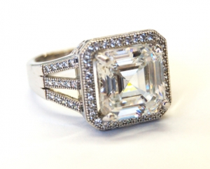 Diamondess SS PP, Square CZ w/Pave Surround