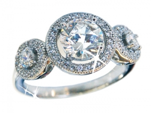 Diamondess SS PP, 3 Round CZs w/ Pave Ring