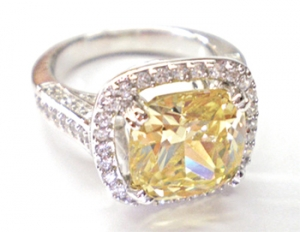 Diamondess SS, PP, Square CZ Canary Solitaire w/Pave Surround