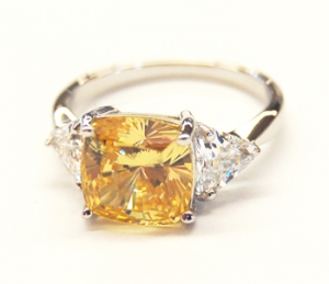 Diamondess SS PP, Square Canary CZ Ring