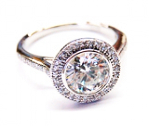 Diamondess SS PP, Round CZ Solitaire w/Pave Ring
