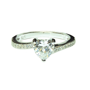 Diamondess Sterling Silver, Platinum Plate CZ Heart Ring