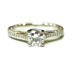 Diamondess Sterling Silver, Platinum Plate CZ Ring w/pave band