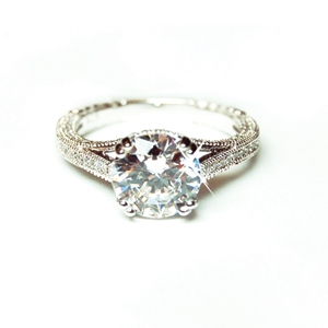 Diamondess Sterling Silver, Platinum Plate CZ Ring w/pave baluster sides