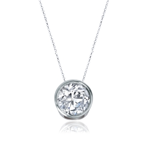 "Landau 1 Ct Clear Bezel 18"" Necklace in Silvertone"