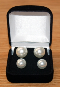 Set of Two 6mm & 8mm Pearl Earrings in a Gift Box