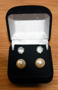 Set of Two 2.0 ct CZ Round Earrings & 8mm Pearl Earrings in a Gift Box