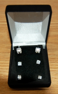 Set of 3 .50 ct, 1.0 ct & 1.5 ct Princess Cut CZ Earrings in Gift Box