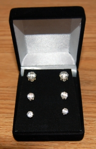 Set of 3 .50 ct, 1.0 ct, & 1.5 ct Round CZ Earrings in a Gift Box